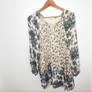 Free People Boho Cream Floral Tie Front Tunic Top
